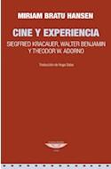 Papel CINE Y EXPERIENCIA SIEGFRIED KRACAUER WALTER BENJAMIN Y THEODOR W ADORNO (COLECCION CINE)