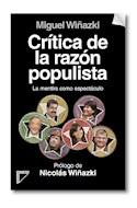 Papel CRITICA DE LA RAZON POPULISTA LA MENTIRA COMO ESPECTACULO (RUSTICO)