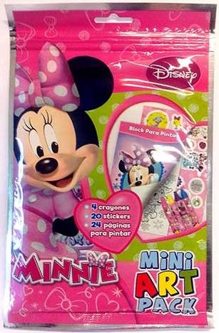 Mini Art Pack Minnie Incluye 4 Crayones 20 Stickers 24 Paginas