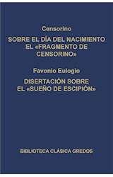 """E-book Sobre el día del nacimiento el """"Fragmento de Censorino"""". Disertación sobre el """"Sueño de Escipión"""""""