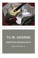 Papel ESCRITOS MUSICALES VI (OBRA COMPLETA 19) (81) (COLECCION BASICA DE BOLSILLO) (BOLSILLO)