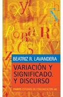 Papel VARIACION Y SIGNIFICADO Y DISCURSO (ESTUDIOS DE COMUNICACION 66040) (RUSTICA)