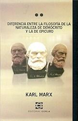 Libro Diferencia Entre La Filosofia De La Naturaleza De Democrito Y La De Epicuro