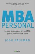 Papel MBA PERSONAL LO QUE SE APRENDE EN UN MBA POR EL PRECIO  DE UN LIBRO