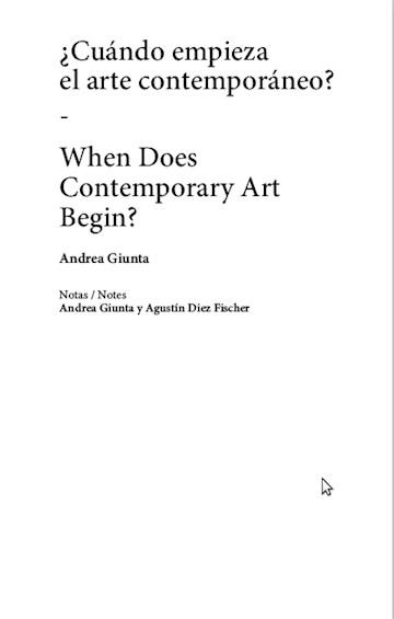 Papel ¿Cuándo Empieza El Arte Contemporáneo? / When Does Contemporary Art Begin?
