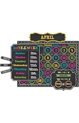 Papel Chalkboard Brights Calendar Bulletin Board Display Set