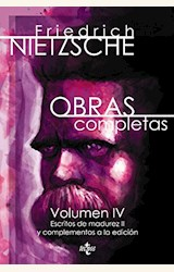 Papel OBRAS COMPLETAS NIETZSCHE VOLUMEN IV